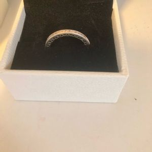 Pandora Pink Sparkles and Hearts Ring size 7!